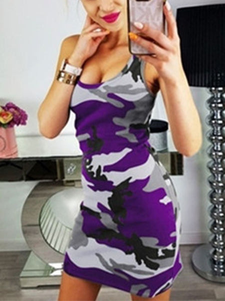 Camouflage Printed Scoop Neck Sleeveless Bodycon Dresses