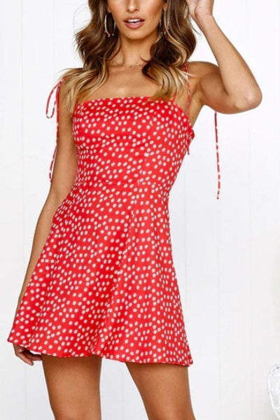 Spaghetti Strap  Dot  Sleeveless Casual Dresses