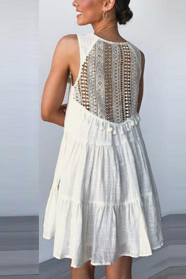 Fashionable Fringe Lacesleeveless Skater Dress