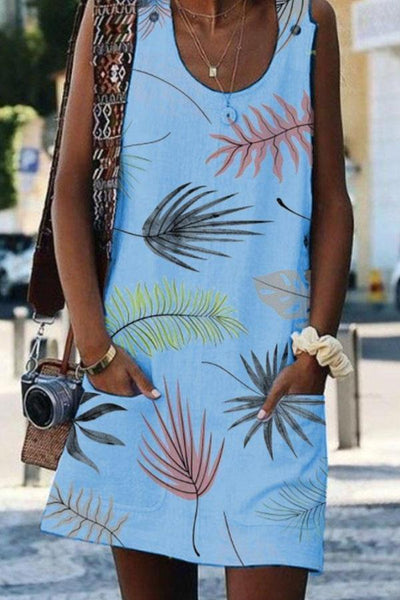 Round Neck Printed Sleeveless Casual Dresses