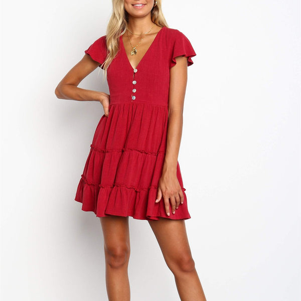 Fashion Wild Sexy Slim V Collar Button Dress