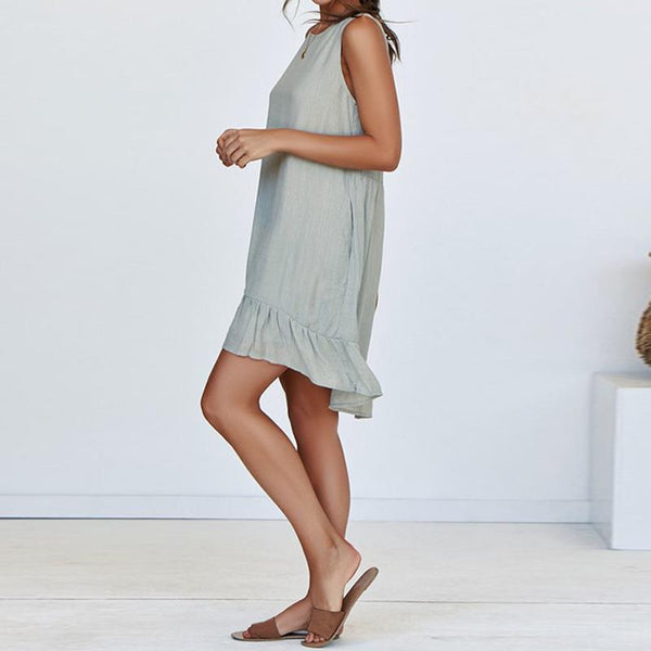 Round Neck  Loose Fitting  Plain  Sleeveless Casual Dresses