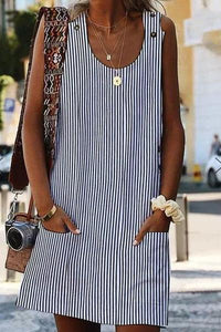 Round Neck  Patch Pocket  Striped Casual Dress