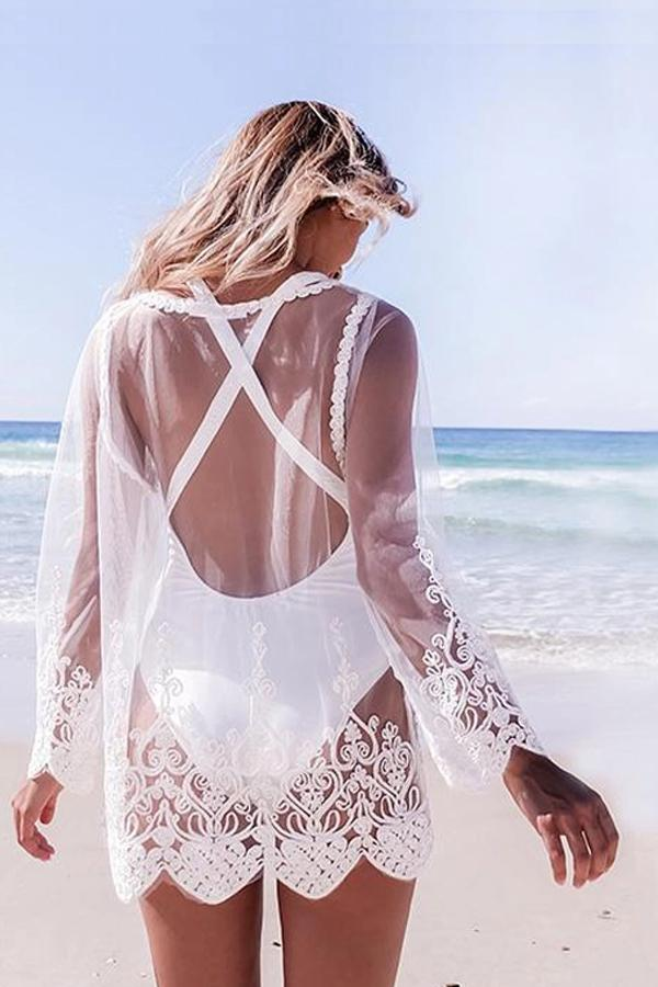 Embroidered Lace Beach Blouse Bikini Tunic