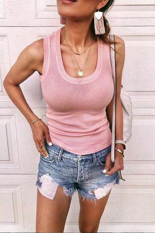 Casual Round-Neck Knit Sleeveless T-Shirt