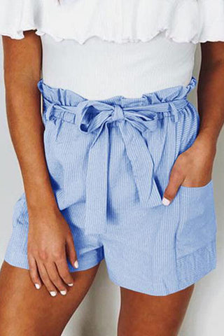 Casual Belted Loose Patch Pocket Pure Colour Shorts