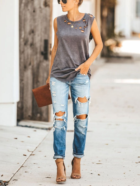 Round Neck Cutout Casual T-Shirts