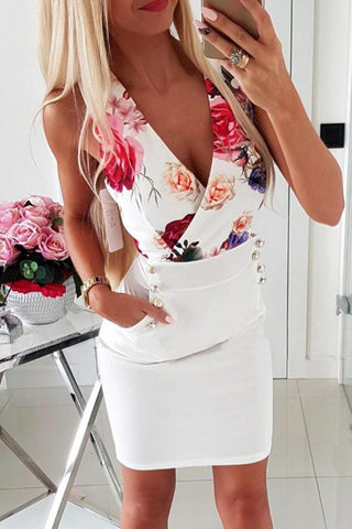 V Neck  Printed  Sleeveless  Elegant Bodycon Dresses