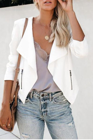 Casual Long Sleeve Lapel Zip Jacket