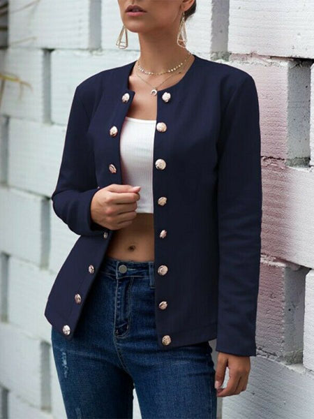 Collarless Neck Single Breasted Plain Blazers