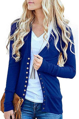 Women's S-2XL Solid Button Front Knitwears Long Sleeve Casual Cardigans