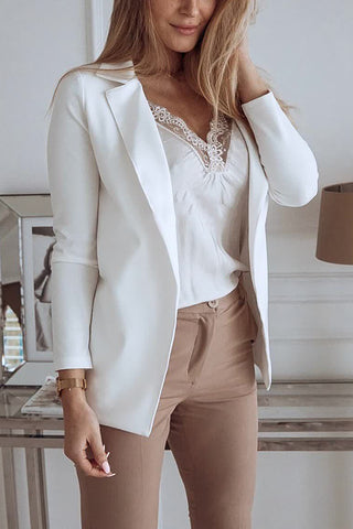 Fashion White Flip Collar Long Sleeve Small Suit