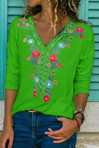 Casual V Neck Long Sleeve Embrodiery T-Shirt