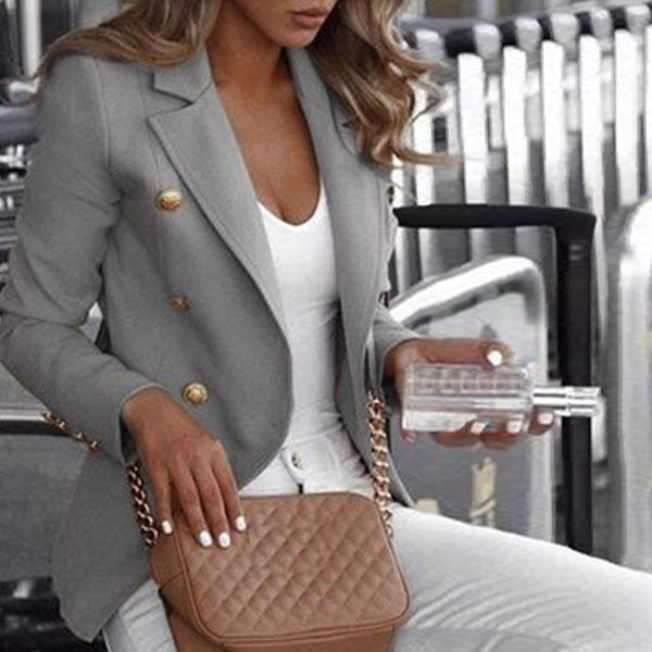 Fashion Casual Lapel Decorative Button Blazer