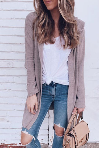Brief Pure Colour Long Sleeve Loose Cardigan