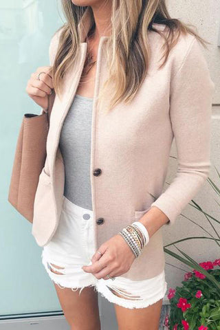 Casual Pocket Small Stand Collar Blazer