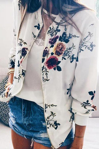 Round Neck Zipps Decoration Floral Printed Jackets