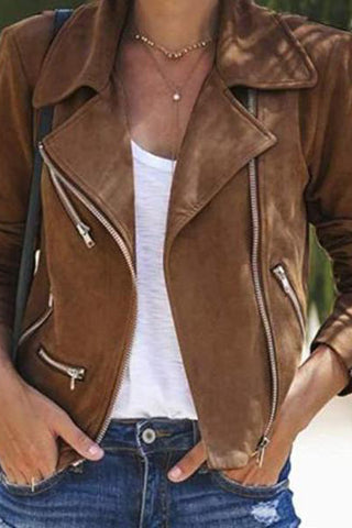 Fashion casual lapel zipper jacket