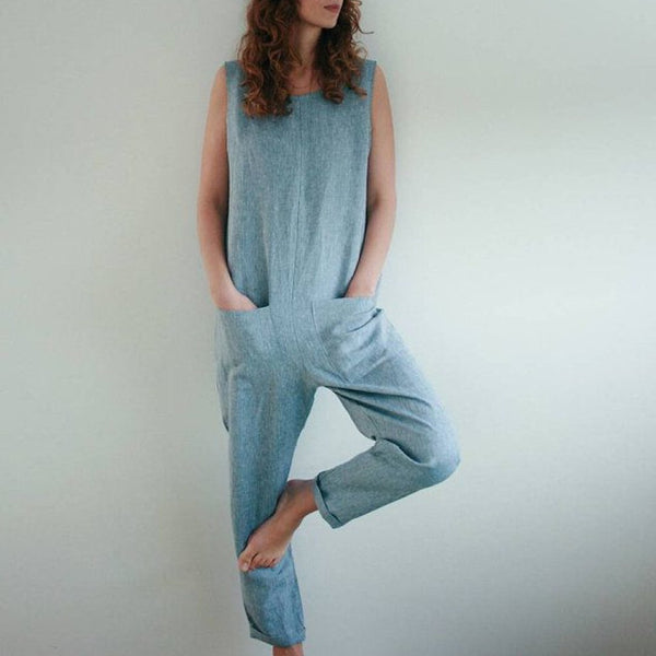 Cotton And Linen Vacation Casual Jumpsuit