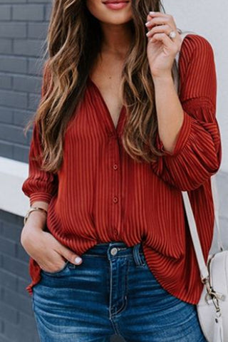 Casual V-Neck Red Striped Loose Shirt