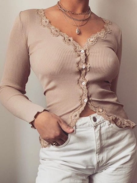 Casual Lace Stretch Rib Cardigan