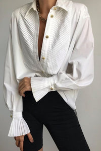 Casual White Pleated Loose Shirt