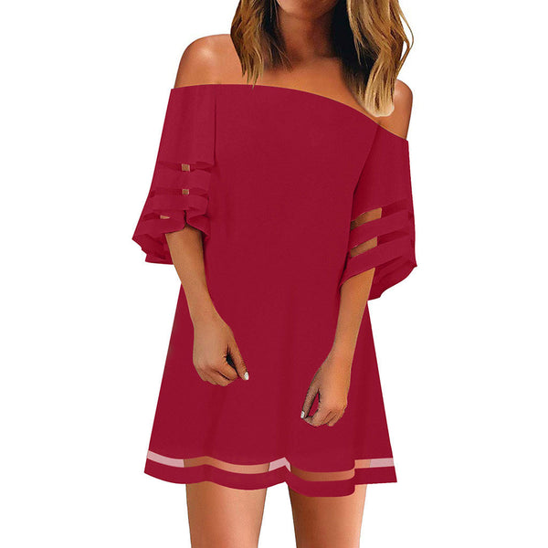 Off Shoulder Casual Plain Shift Dress