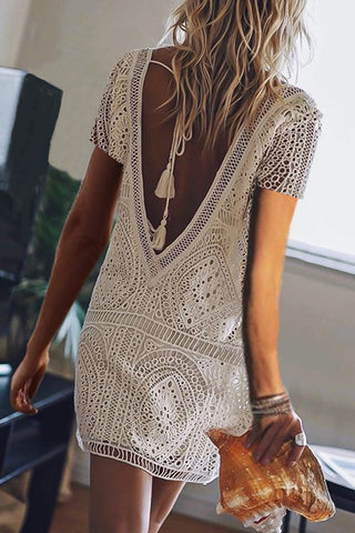 V Neck  Lace Up  Lace  Short Sleeve Casual Dresses