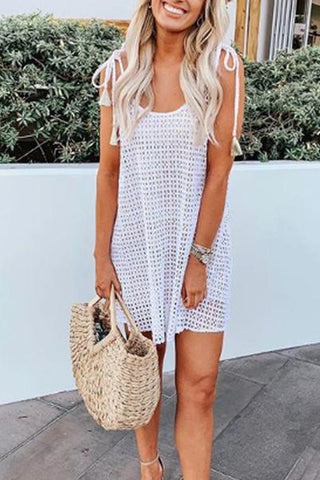Casual Loose Hollow-Out Suspenders Dress