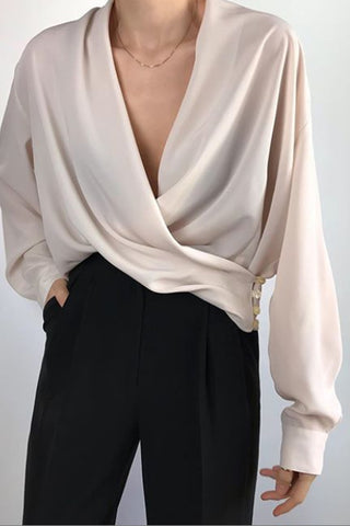 Casual Beige V-Neck Button Draped Loose Shirt