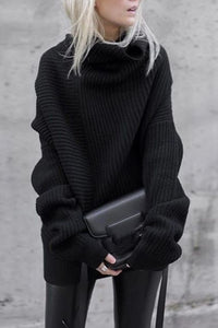 Casual Black Turtleneck Loose Sweater