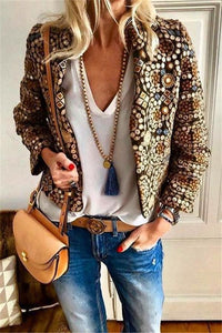 Band Collar  Beading  Abstract Print Jackets