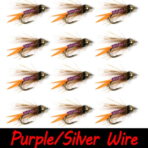 Bimo 12pcs 12# Brass Bead Head Prince Nymph Trout Fishing Flies Fast Sinking Nymph Fly