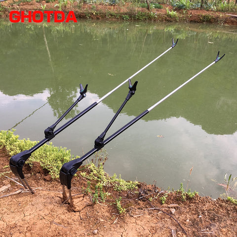 Fish Rod Stand Bracket Angle Adjustable Fishing Rods Holder 1.7M 2.1M Telescoping Fishing stand