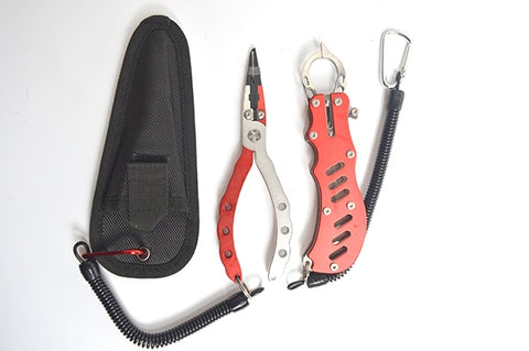 Fishing pliers Aluminium Fish Lip Grapper Fishing Grip Tool with Lanyard combo