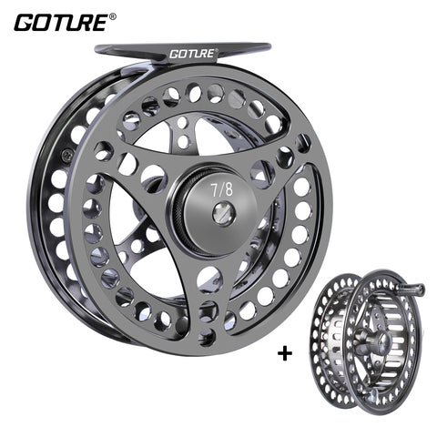 Fly Fishing Reel  CNC-machined Large Arbor Left/Right Fly Reel+Spare Spool