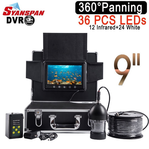 "SYANSPAN Waterproof DVR Fish Finder 9""LCD Monitor Video Camera 1000TVL Underwater Ice Fishing 36 LEDs 360 Degree Rotating Black"