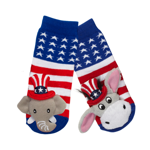 Messy Moose Socks, Stars & Stripes Mismatch