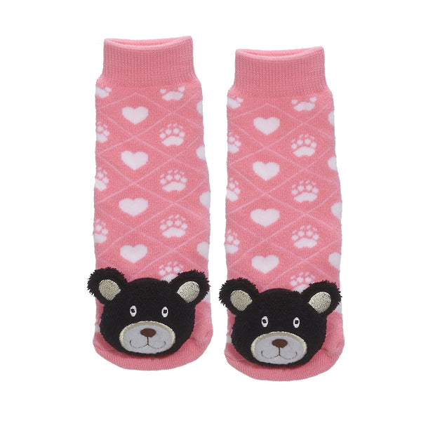 Messy Moose Socks, Pink Black Bear