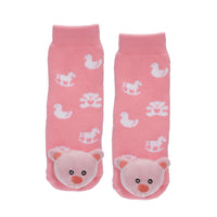 Messy Moose Socks, Pink Bear
