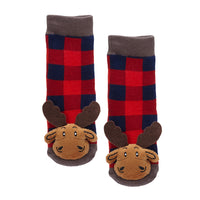 Messy Moose Socks, Plaid Moose