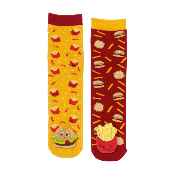 Messy Moose Socks, Hamburger & Fries Mismatch