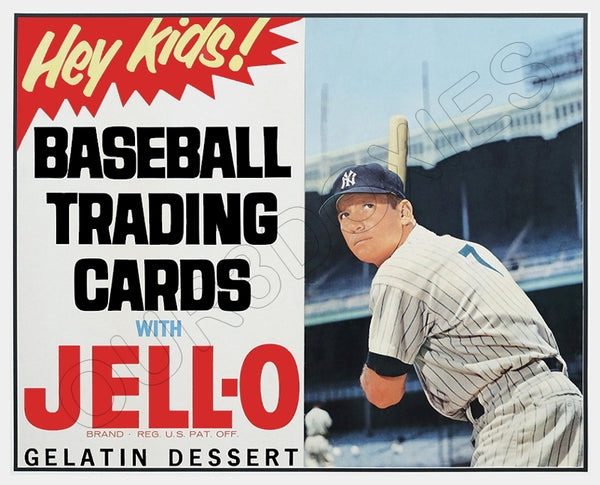 1963 Mickey Mantle Jello Baseball Cards Store Counter Standup Sign Yankees 7