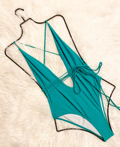 LEAH TIE UP MONOKINI - TEAL