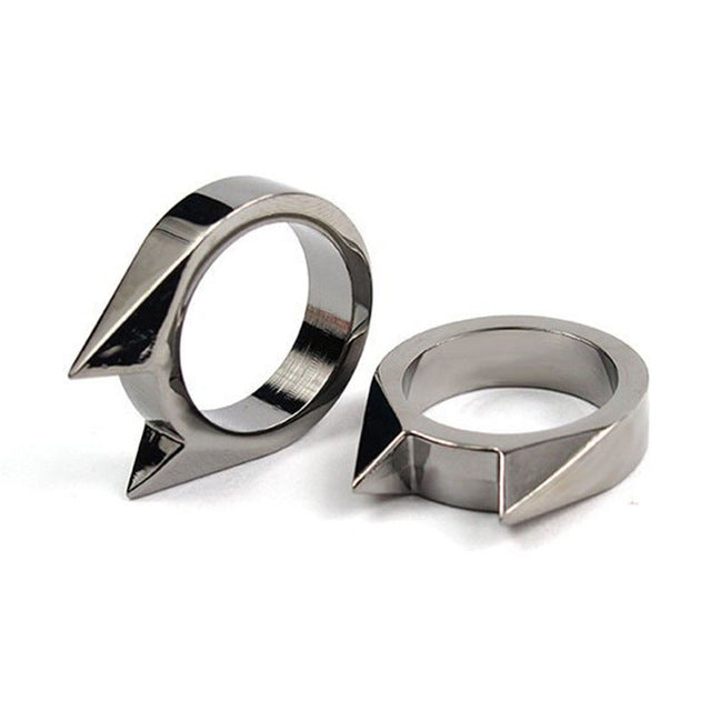 2Pcs Cat Ear Self-defense Ring Stainless Steel