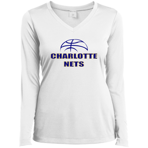 NETS Ball Ladies' LS Performance V-Neck T-Shirt - White