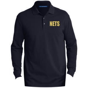 NETS BOLD GL LS Cotton Polo - Navy
