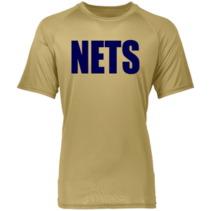 NETS BOLD BL Raglan Wicking T-Shirt - Vegas Gold