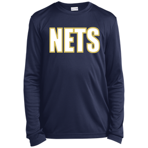 NETS BOLD WGL Navy Youth LS Moisture-Wicking T-Shirt