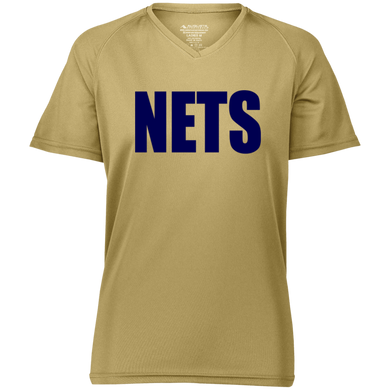 NETS BOLD BL Ladies Raglan Wicking T-Shirt - Vegas Gold